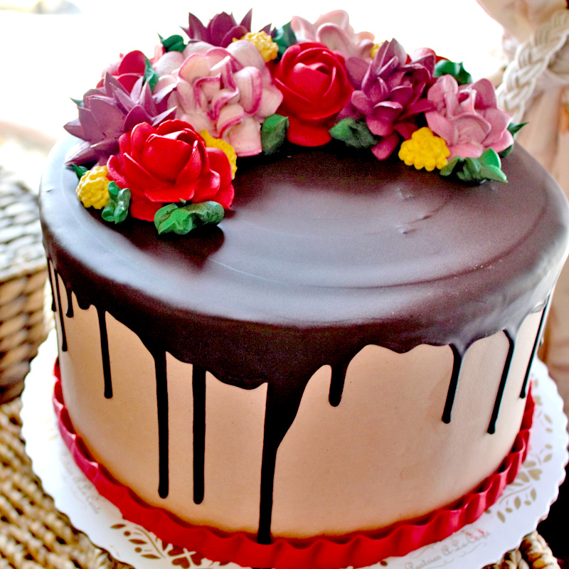 Chocolate Drip With Flowers
