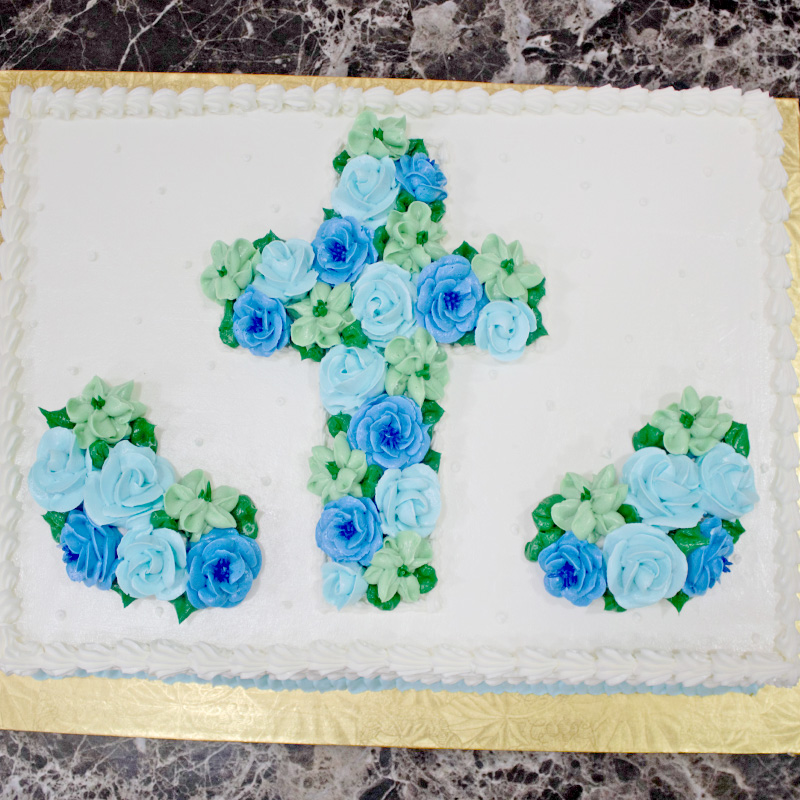 Floral Cross and Framing Swag Cake