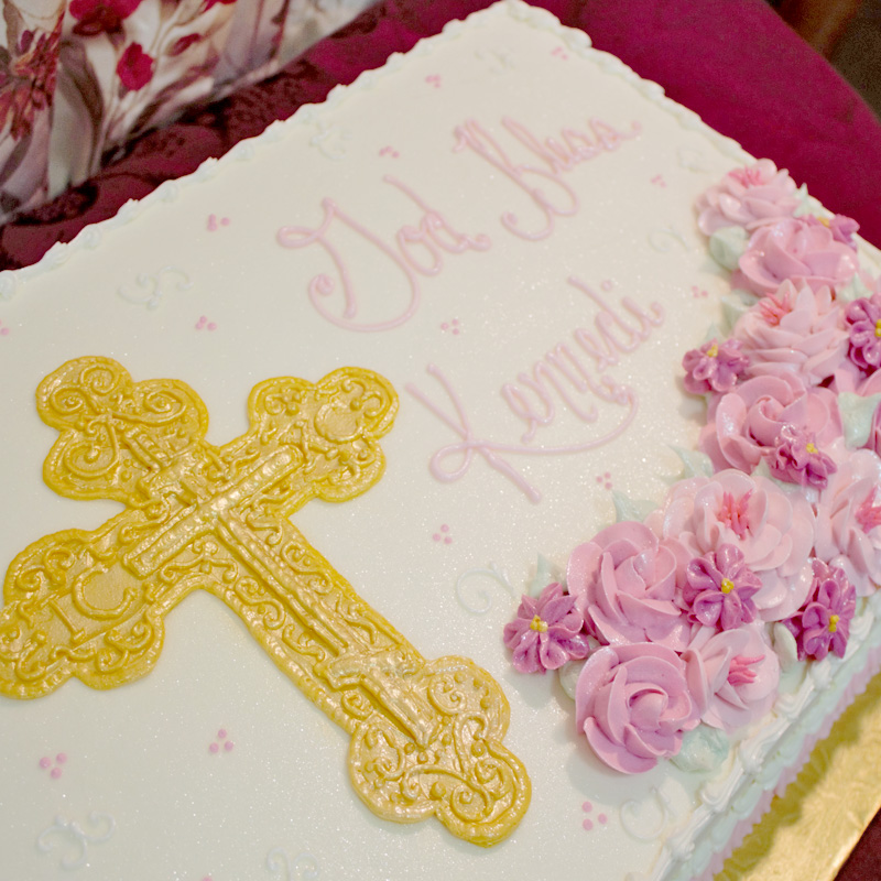 Golden Cross with Flowers Cake