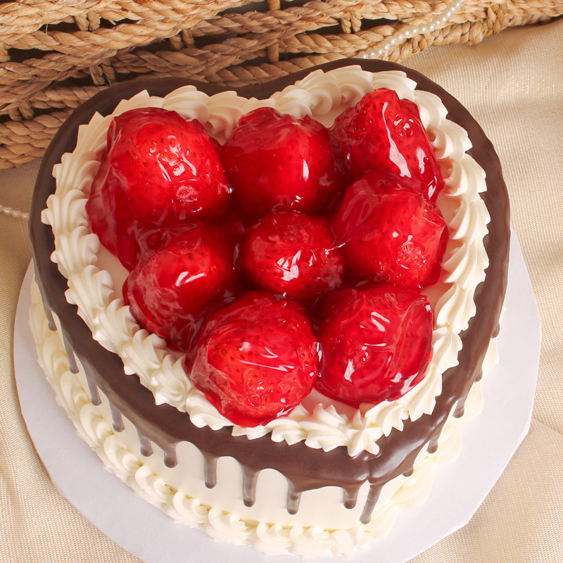 Heavenly Chocolate Strawberry Topped Heart Shaped Cake