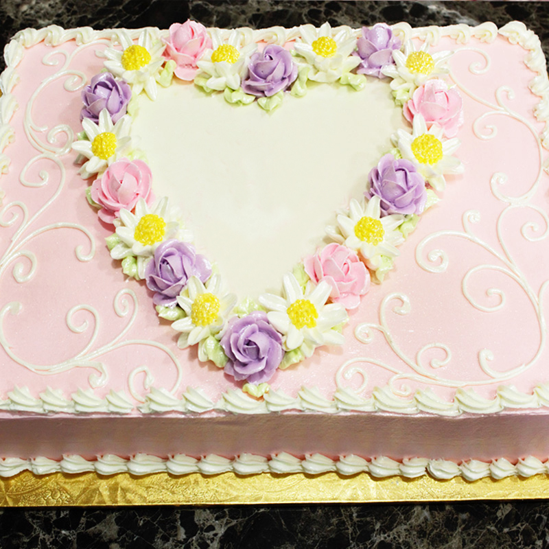Floral Heart Framed Cake