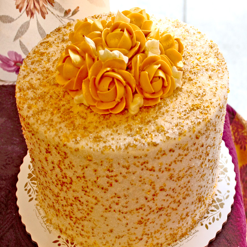 Golden Sugar Coated Rose Cake