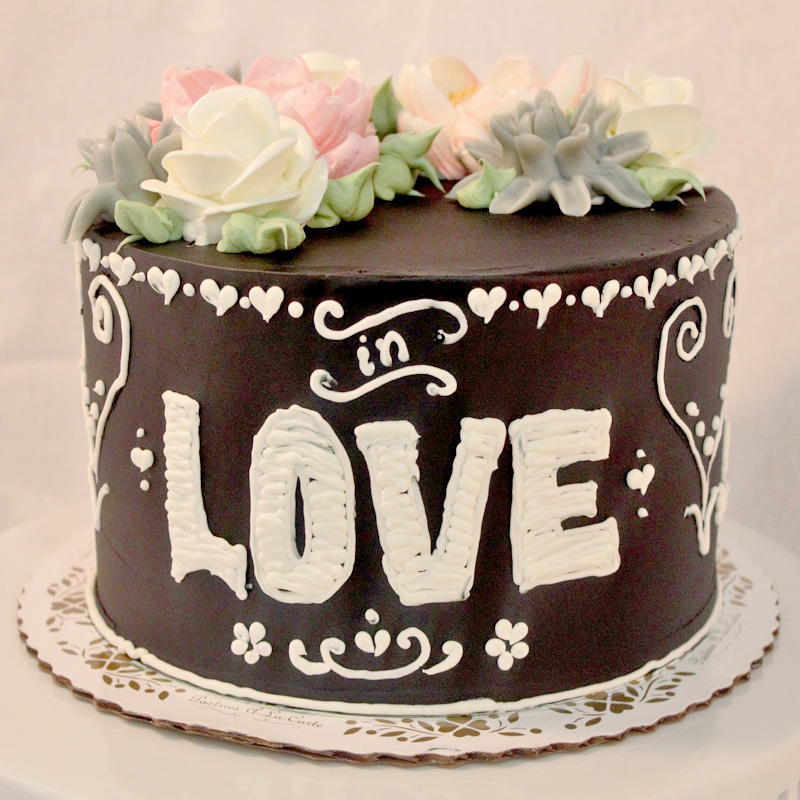 In Love Chalk Board Style Cake