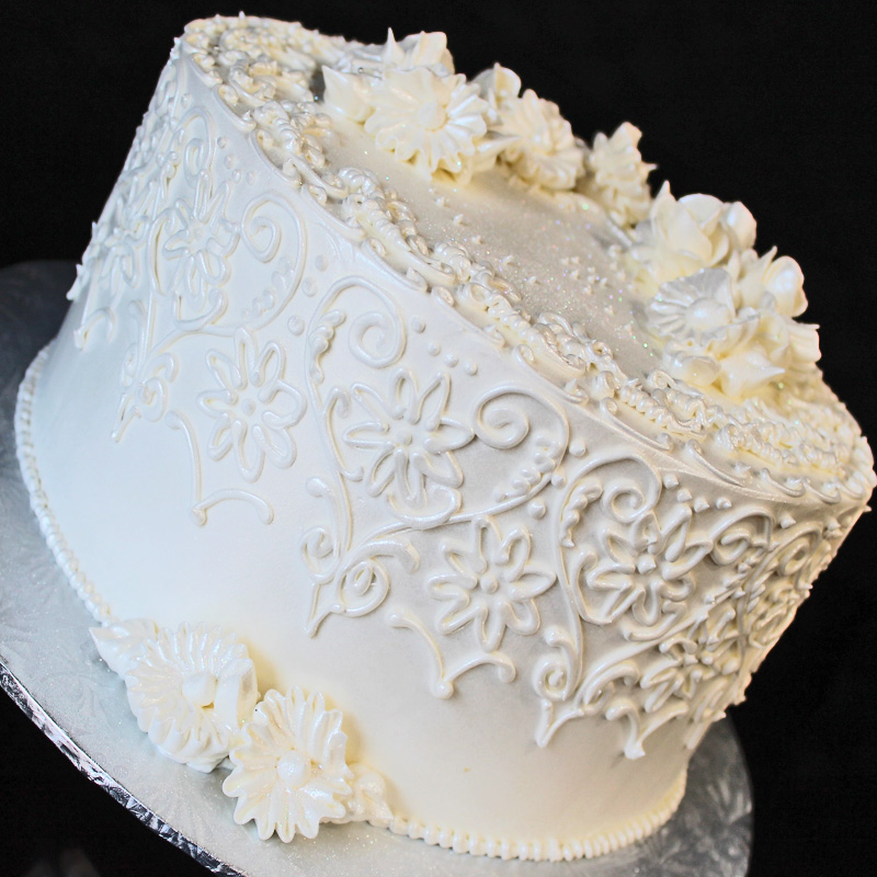 Lovely White Scrollwork Cake