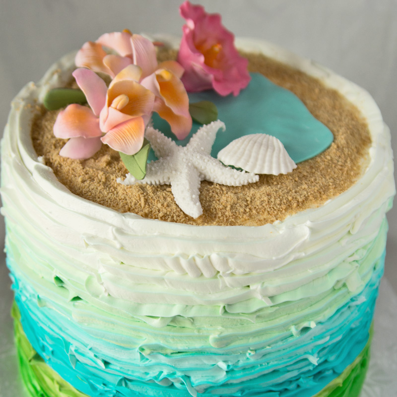 Sandy Beaches Bridal Shower Cake
