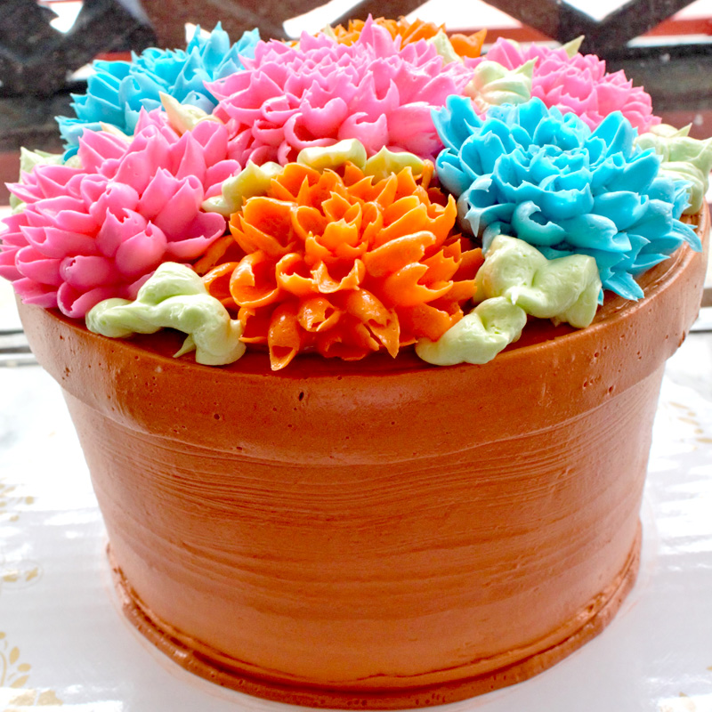 Bright Dahlias Flower Pot Cake