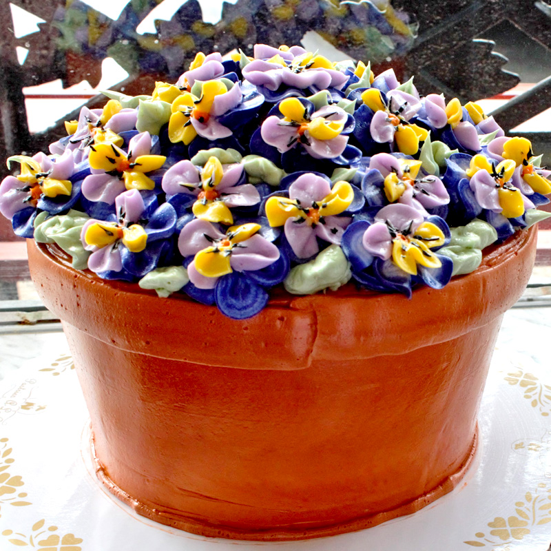 Potted Pansies Flower Pot Cake