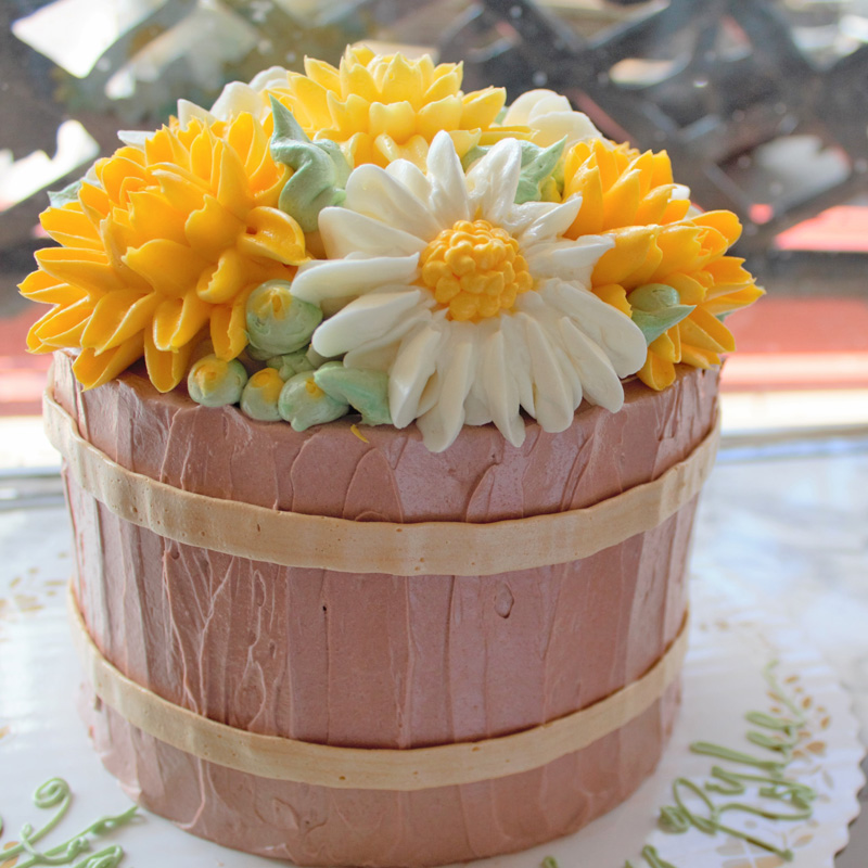 Yellow Flowers & Daisies Flower Pot Cake