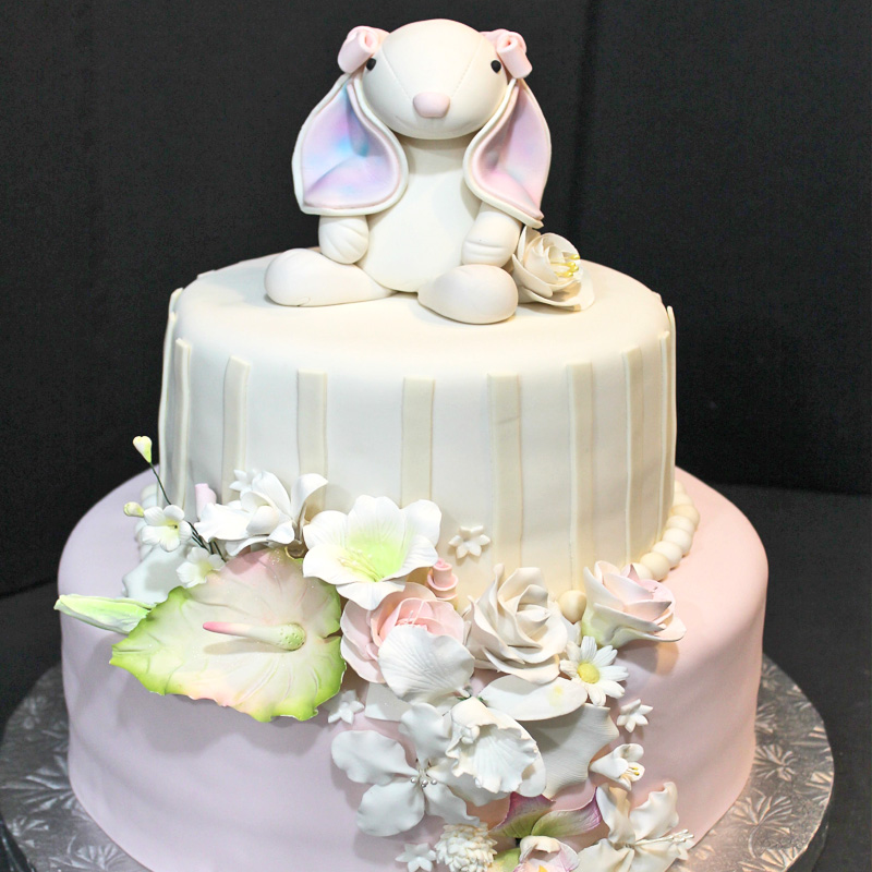 Bunny & Flowers Tier Cake