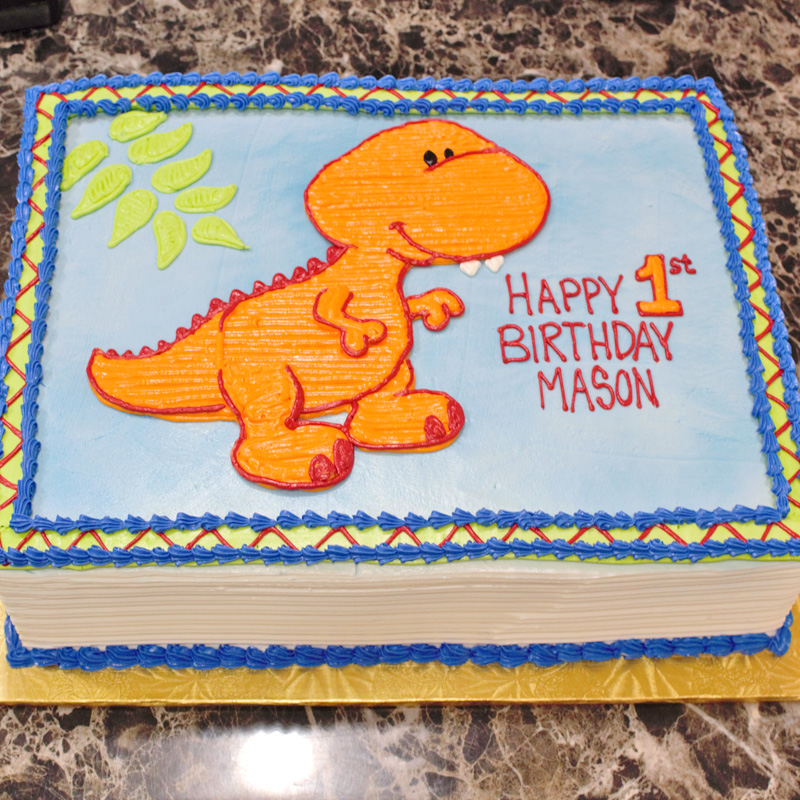 Cartoon T-Rex Cake