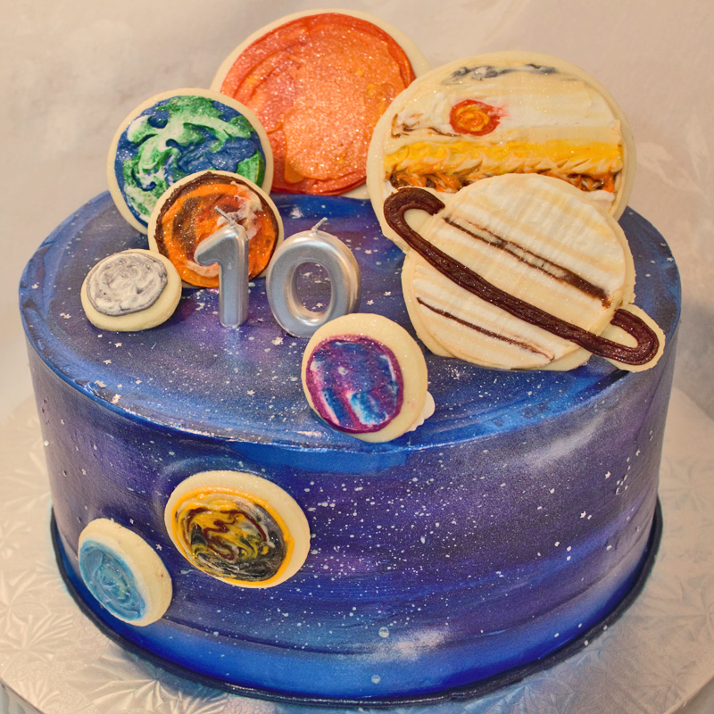 Galaxy Cake With Cookie Planets