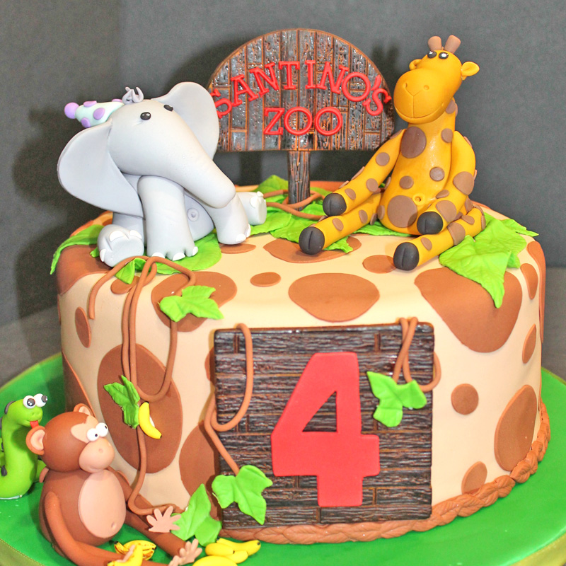 Jungle Theme Cake With Fondant Animals