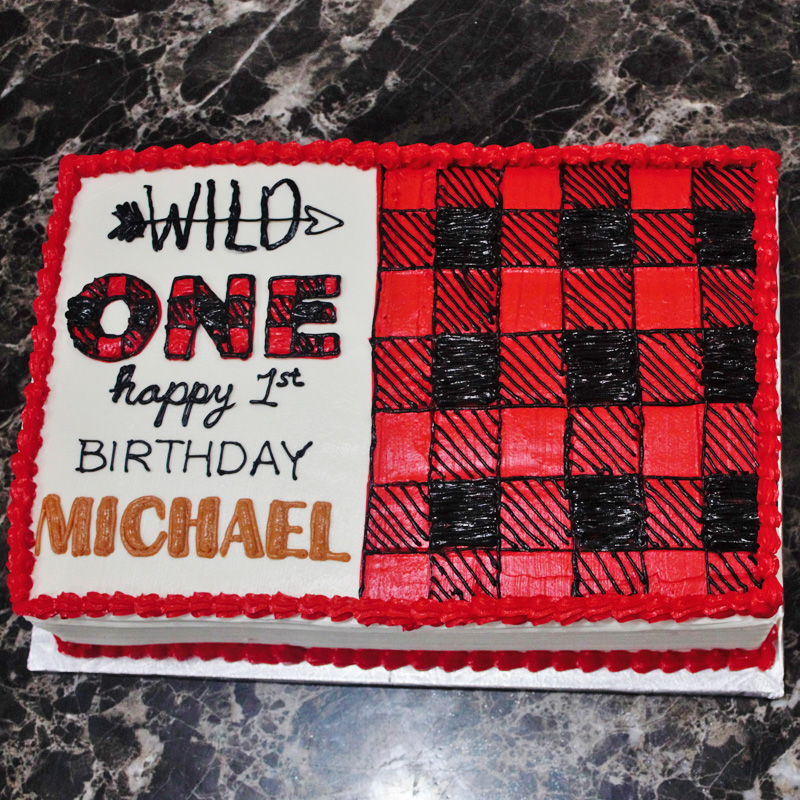 Plaid Theme First Birthday Cake