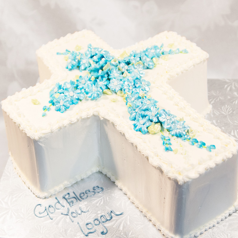 3D Shaped Cross Cake With Blue Flowers