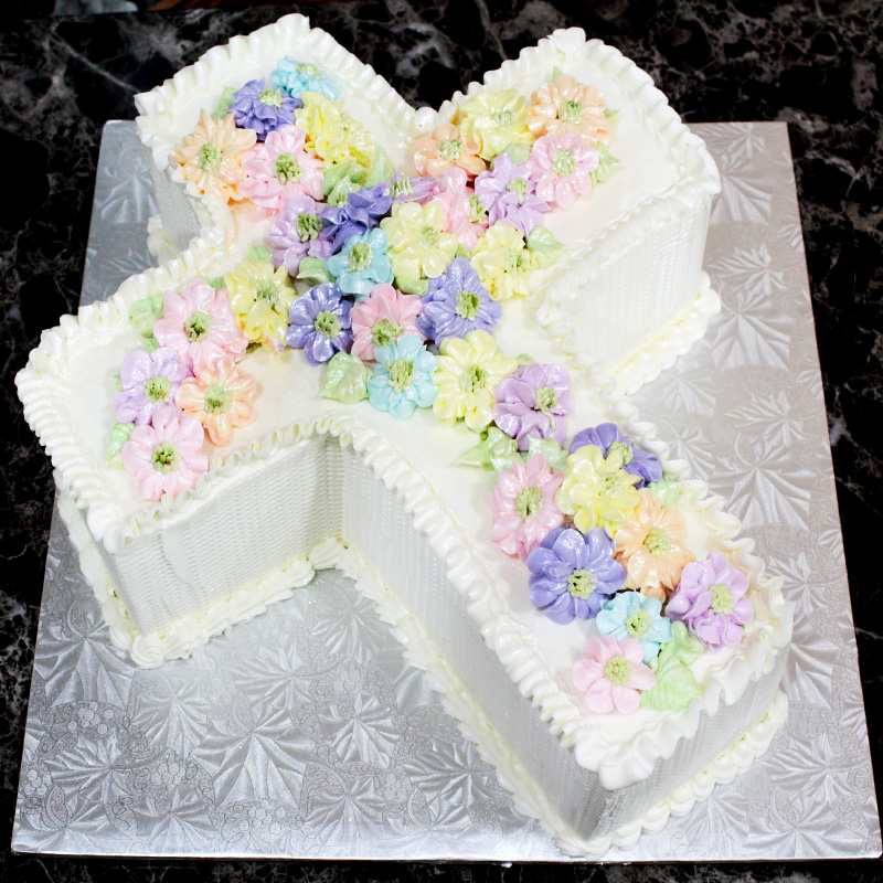 3D Shaped Cross Cake With Flowers