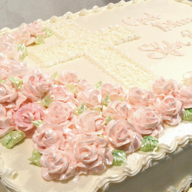 Pink Roses With Drawn Cross Cake