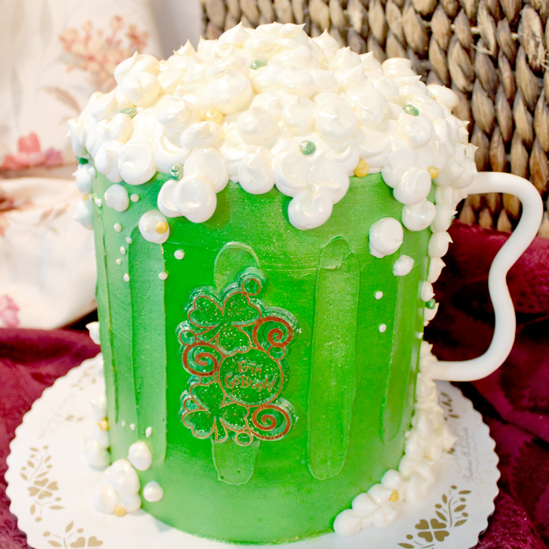 St. Patrick's Day Green Beer Shaped Cake