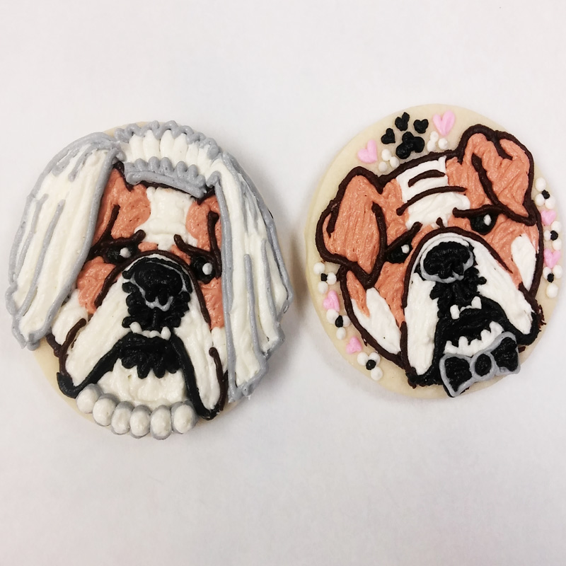 Customized Bulldog Wedding Cookies
