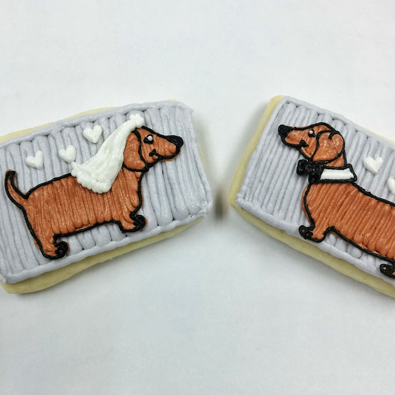 Customized Dachshund Wedding Cookies