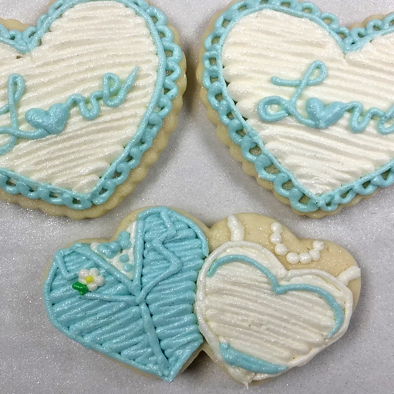 Double heart Cookie Bride and Groom